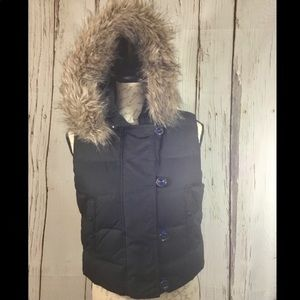 Gap Puffer Vest with Fur Hood
